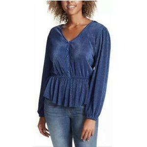 Jessica Simpson Peplum Textured Blue Top Blouse L